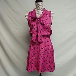 Pink bird print accidently in love dress